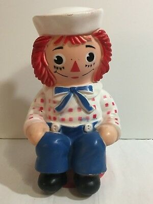 """Vintage 1972 Hard Plastic Raggedy Andy Bank My Toy Co Ann 10"""""""