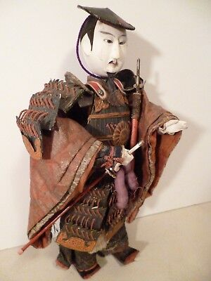 """ANTIQUE JAPANESE WARRIOR SAMURAI with SHARP REMOVABLE SWORD!  17"""" TALL DOLL"""