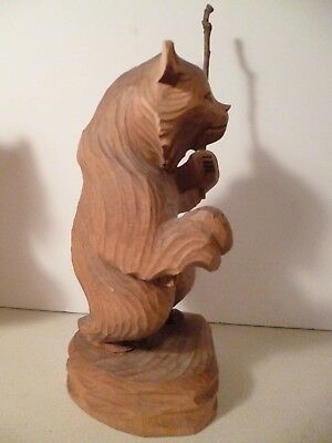 "Serious Russian Fisherman Carved Wood Bear With Pole Giant Bear 9"" Tall"