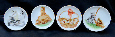 4 Diff. Orange and Gray Tabby Cat Kittens Mini 3-Inch Plates JAPAN w/Stands
