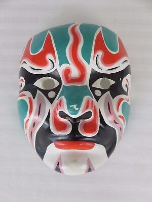 "Vintage Asian Opera Face Mask Paper Mache Multi-Color 6 3/4"" x 6"""