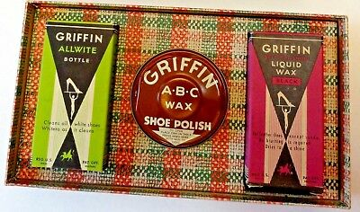 Vintage Griffin Shoe Polish boxed set of White Black and brown in plaid box NIB