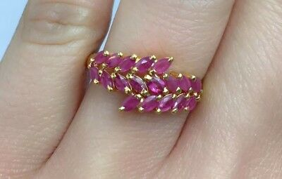 Sz 6.5 14k Solid Gold Yellow Gold Cute Crown Ring Natural Ruby 1.60TCW