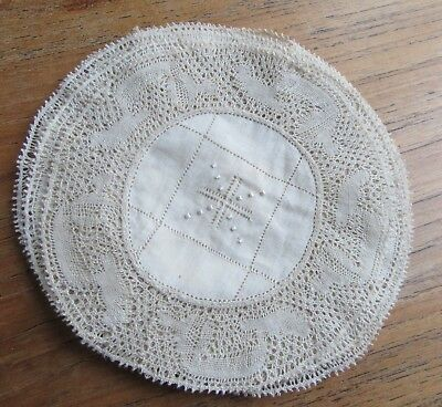 12 Antique Embroidery & Flanders Lace Doilies Coasters Fine Work