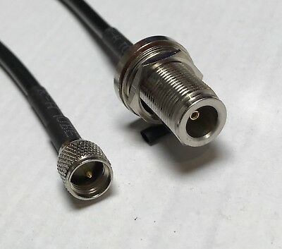 Mini UHF Male to N Female Bulkhead Pick Your Length RG58 Coaxial Pigtail Cabl US