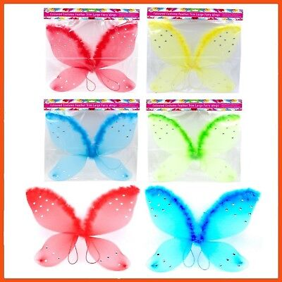 24 x FAIRY COSTUME WINGS | Assorted Colours Children's Costumes Fairy Dress Ups