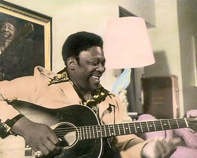 """RILEY B """"BB"""" KING AFRICAN AMERICAN BLUES GUITARIST 8x10"""" HAND COLOR TINTED PHOTO"""