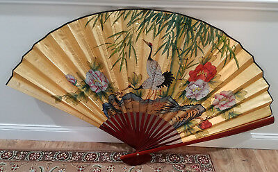 Gold Oriental Lotus Flower And White Birds Wall Fan Bamboo Hand Painted Chinese