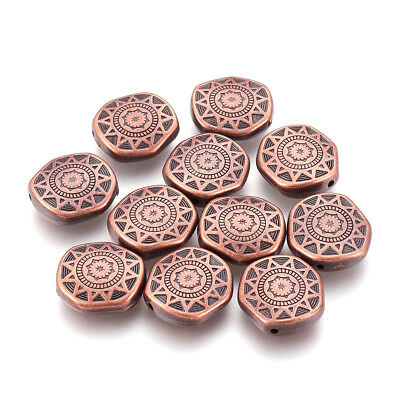 10pc Red Copper Acrylic Hexagon Beads Carved Flower Big Loose Spacers Craft 18mm