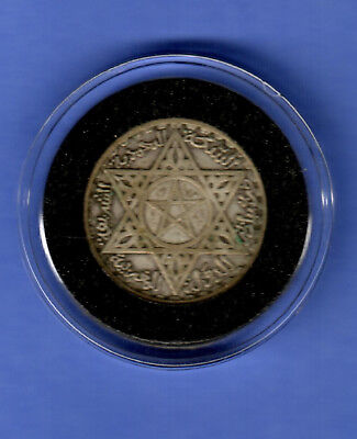 Silver Morocco 1952 / 1372 100 francs 4 grams islam coin Magic pentagram muslim