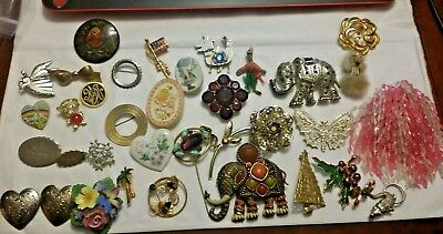 antique vintage retro modern brooch pin lot 36 pcs crystal enamel rhinestone D