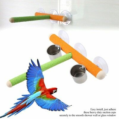Wooden Parrot Stand Perch Rack Platform Bird Play Toy Food Cups Shower Perches