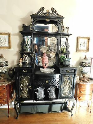 """Large or Stately Victorian Ebonized Carved Etagere With Beveled Mirrors 88"""" High"""