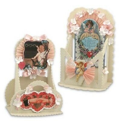 Set  2 Bethany Lowe Victorian  Valentines Container w Angel Cupid Casey Mack NWT