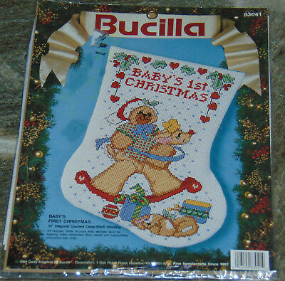 Dimensions Babys First Christmas Counted Cross Stitch Kit 14 Count White Aida 4D