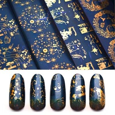 10 pcs Nail Art Foil Decal Sticker Transfer Nail Constellation Starry Laser Gold