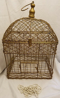 Vintage Gold Tone Wire Bird Cage Hinged Domed Top