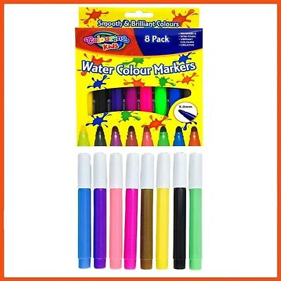 24 x JUMBO WATERCOLOUR MARKERS 8 pcs | Kids Art & Craft Colouring In Painting