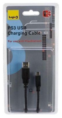 2 x Logic3 USB High Quality Shielded Charging Cable For Use with PS3, 3M Long