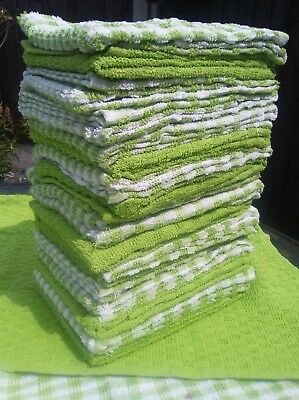 Pack of 4 Terry tea towels cafe restaurant 100% cotton  absorbent LIME GREEN