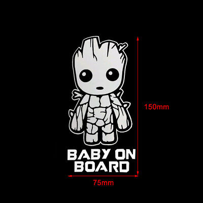 150mm×75mm Baby On Board Cute Groot Car Truck Laptop Toolbox PET Decal/Sticker*1