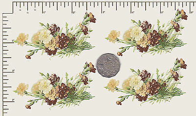 """4 x Waterslide ceramic decals Flowers Carnations Approx 4 1/2"""" X 2 1/2"""" PD801a"""
