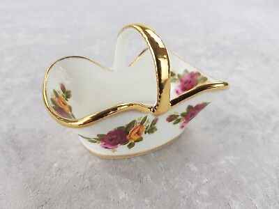 Beautiful Fenton Bone China Basket with gilding and flowers floral gold