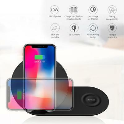 2 in 1 Samsung Fast Qi Wireless Charger Pad Duo Galaxy Note 9 S9 Gear S3 Watch
