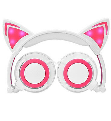 TechCOMM K7 Cat Ear Headphones Pink/ White w/ LED Lights Lightweight Portable