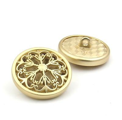 7PCS Gold Metal Hollow Out Flower Shank Buttons Coat Sewing Craft DIY 18 23 25MM