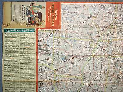 1961 Eastern United States & Adjacent Canada Interstate Map Esso Humble Oil New