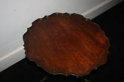 Georgian Mahogany Chippendale Pie Crust One Piece Top Table