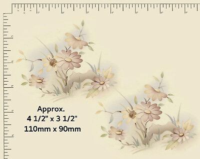 """2 x Ceramic decals Decoupage Pastel floral spray Approx. 4 1/2"""" x 3 1/2"""" PD937a"""