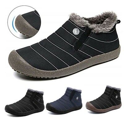 Men's Winter Snow Boots Slip On Casual Ankle Fur Lining Shoes Outdoor Waterproof