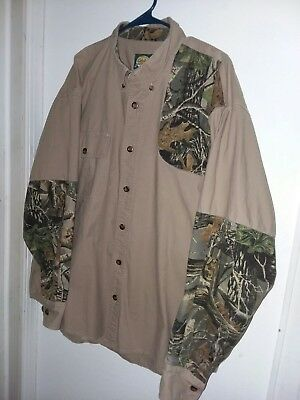 675daaf98c Cabelas mens l s hunting outdoor shirt Seclusion 3D camouflage green beige  XL