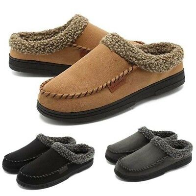 Home Suede Slippers Men's Soft Sole Fur Lined Indoor Cotton Shoes Casual Slip On