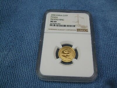 2000 China 10 Yuan Frosted Ring Gold Panda Coin NGC MS69 Clean Coin & Slab