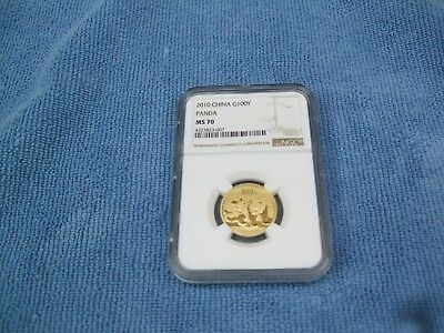 2010 China  G100Y   / 1/4 Oz   Gold Panda Coin  NGC  MS70  Clean Coin & Slab