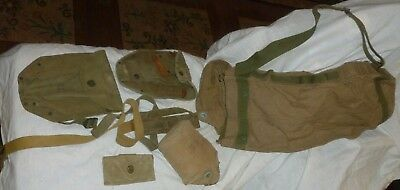 Lot/7 WWII US ARMY DUFFLE BAG, CANTEEN, 3 POCKETS/Bags/KITS/Pouch, BELT & STRAP