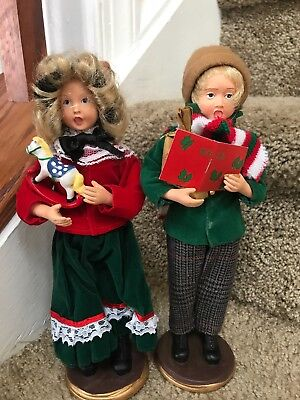 Two 9 Inch Christmas Carolers Figures
