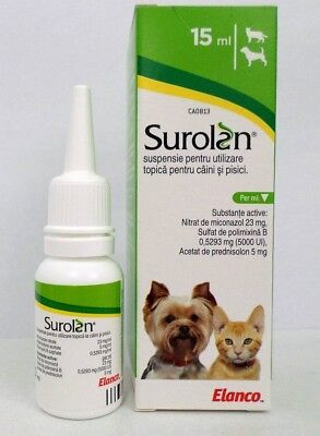 1x Surolan Ear drops for dogs and cats 15mL otitis, ear mite 11/2019