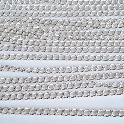 10M Silver Plated Curb Chain Open Link Necklace Findings 4x3mm B10724