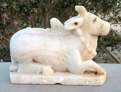 Antique Old Rarest White Marble Stone Hand Engraved Hindu Idol Nandi Cow Statue