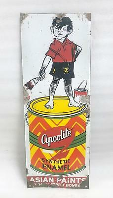 1969's Vintage Old Collectible Asian Paint Ad Porcelain Enamel Sign Board