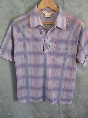 60's Don Giovanni California Shadow Plaid Shirt Size Small Raglan Sleeve