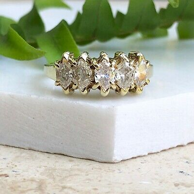 14 KT Yellow Gold Duchess Cut Marquise Diamond Band Ring 1.00 CT TW