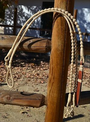 Jose Ortiz 12 plait Braided Natural Rawhide Romel Reins 20/60 Buttons - 54""