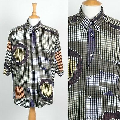 be61484cd Vintage 90'S Retro Pattern Short Sleeve Shirt Loose Fit Ibiza Oversize Xl