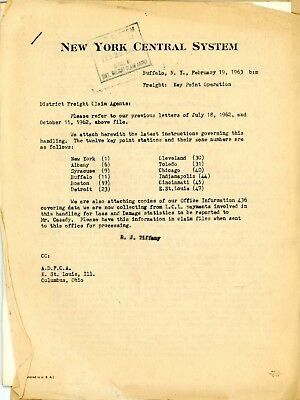 New York Central RR forms + documents for Freight Claims Agents using data cards