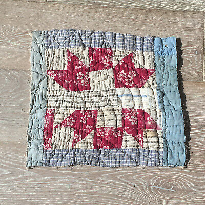 Antique Cutter Patchwork Quilt piece - great for crafts or pillows Vintage! #12